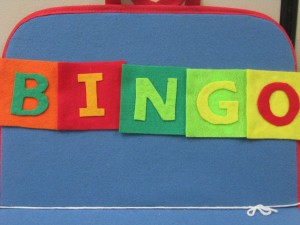 "The letters to the song ""Bingo"" on my flannelboard."